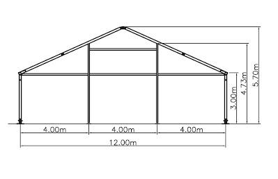 12m clear span width pyramid aluminium structure marquee